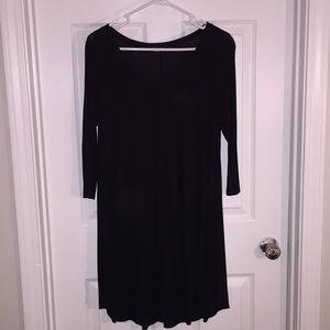 Black three Quarter Length Sleeve Tee Shirt Dress